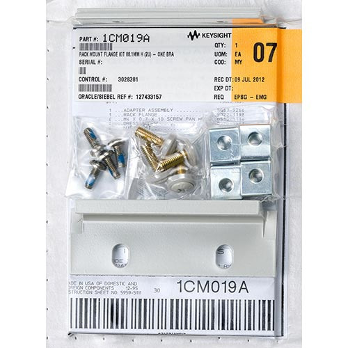 Keysight 1CM019A Rackmount Flange Kit 88.1mm H (2U) - One Bracket, One Quarter-Module Bracket